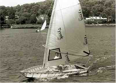 Dan Segal sails a Blivit 13 with Jiffy-Sail
