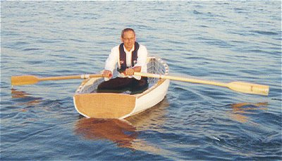 Gene Nardi rows his Westport Dinghy 8